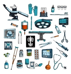 Medical instruments and equipments sketch icons vector