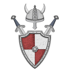medieval shield with swords and horned helmet vector image