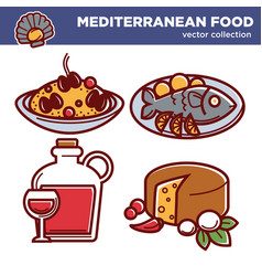 Mediterranean food collection of special vector