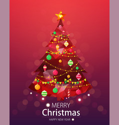 merry christmas and happy new year red background vector image