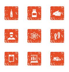 Metabolic icons set grunge style vector