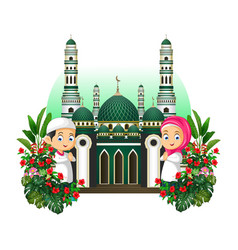 Mosque with kids cartoon and tropical plants vector