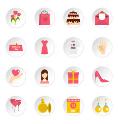 mothers day icons set in flat style vector image