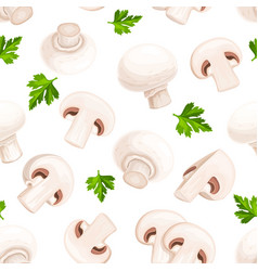 Mushrooms champignons fungi seamless pattern vector