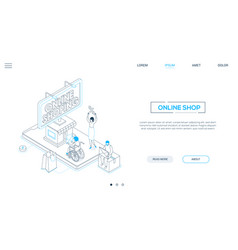 online shopping - line design style isometric web vector image