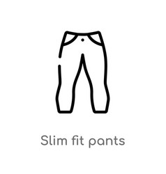 Outline slim fit pants icon isolated black simple vector