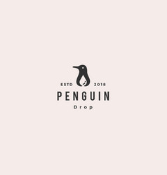 penguin water drop logo hipster vintage retro icon vector image