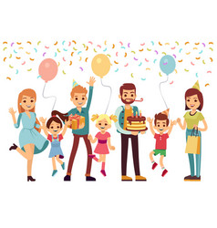 people celebrating birthday happy parents jumping vector image
