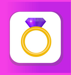 ring with diamond gems ring icon flat design vector image