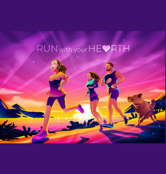 Run with your hearth vector