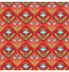 Seamless Pattern with floral ornament on red vector image