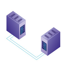 servers data center with circuit isometric icon vector image