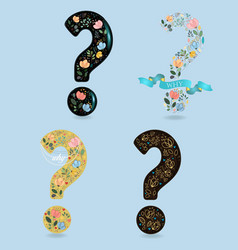 Set of floral question marks vector