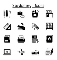 set stationery related icons contains vector image