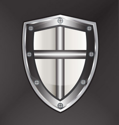 shield protection with cross vector image