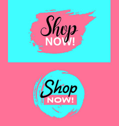shop now banners pink and blue vector image