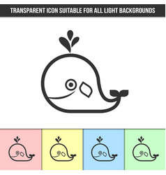 simple outline transparent whale icon on vector image