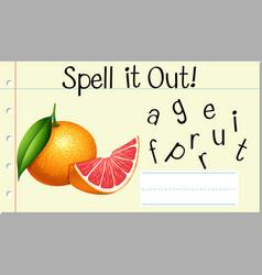 Spell english word grapefruit vector