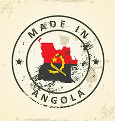 Stamp with map flag of Angola vector