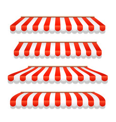 Store awning shop canopy store tent red striped vector