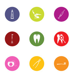 tooth save icons set flat style vector image