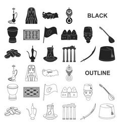 Turkey country black icons in set collection for vector