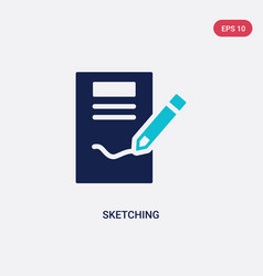 two color sketching icon from creative pocess vector image