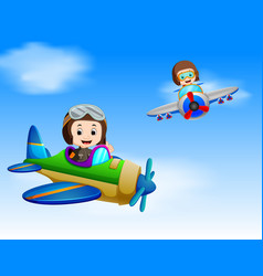 two pilot riding plane vector image