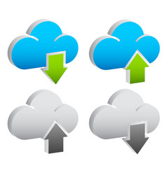 upload download buttons icons with clouds vector image