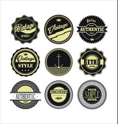 vintage labels black and beige set 1 vector image vector image