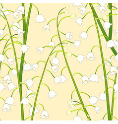 White lily of the valley on yellow background vector