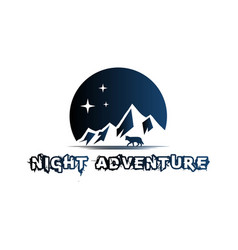 wolf and mountain silhouette a night logo design vector image