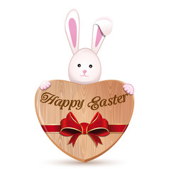 wooden heart and easter bunny happy easter vector image