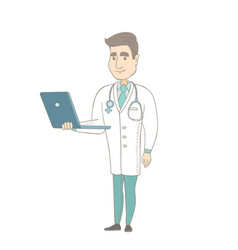 Young caucasian doctor using a laptop vector