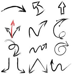 arrow hand paint brush stroke elements vector image vector image