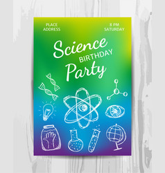 birthday party invitation card science party vector image vector image