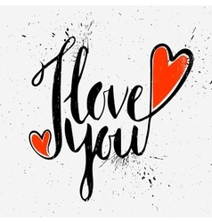 Calligraphic inscription I love you vector image