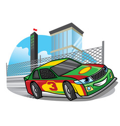 cartoon racing car running fast on the track vector image vector image