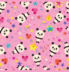 cute baby panda bears flowers seamless pattern vector image vector image