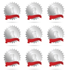 ribbon silver and red with numbers vector image
