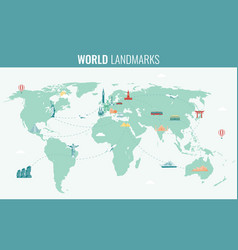 travel and tourism infographic set with world map vector image vector image