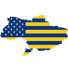 usa and ukraine mixed flag vector image