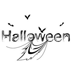 halloween with bats and ghost vector image