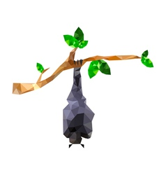 origami bat hanging on branch vector image vector image