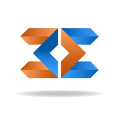Two letter E - blue and orange business logo icon vector image
