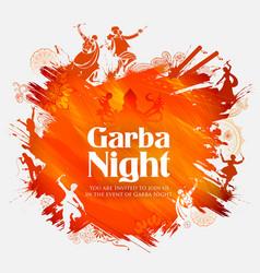 Couple playing dandiya in disco garba night poster vector