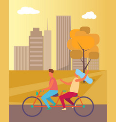 couple riding bicycle in park vector image vector image