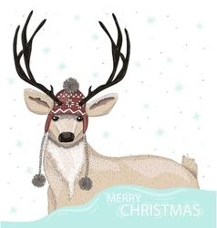 Cute deer with hat winter background vector