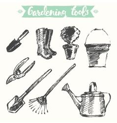 Drawn gardening tools sketch vector image vector image