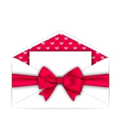 Envelope with Clean Card and Pink Bow Ribbon for vector image